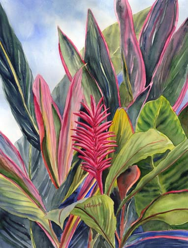 Pink Ginger Hawaiian Flower Floravita Reverse Painted ...
