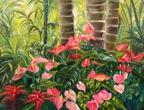 Tropical Red & Pink Anthurium Jungle oil painting