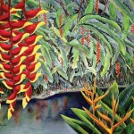 Parrots Beak Heliconia and Red Pendant Heliconia Tropical Flower, watercolor by Jenny Floravita