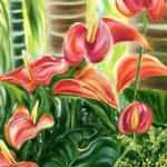 Tropical Hawaiian Pink Anthurium Flowers by Jenny Floravita