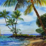 Sailing in the Hawaiian Islands, oil by Jenny Floravita
