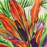 Orange Hawaiian Ti Leaves by Jenny Floravita