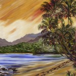 Treasured Moment on the North Shore of Kauai, oil by Jenny Floravita