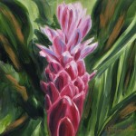 Tropical Pink Ginger Flower by artist Jenny Floravita