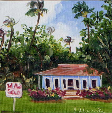 Commissioned Island Cottage painting by Jenny Floravita