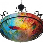 In Good Company, Reverse Painted Chandelier by Jenny Floravita