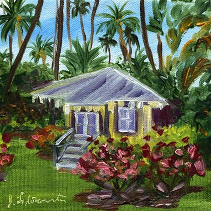 Waimea Plantation Cottage painting by artist Jenny Floravita