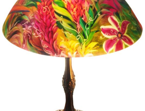 Island Light, Reverse Painted Table Lamp