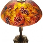 "Vineyard Romance, 18"" Reverse Painted Lamp Shade by artist Jenny Floravita"