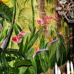 Detail of tropical flower mural