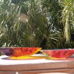 "Floravita's 32"" versus 24"" reverse painted glass bowl comparrison"