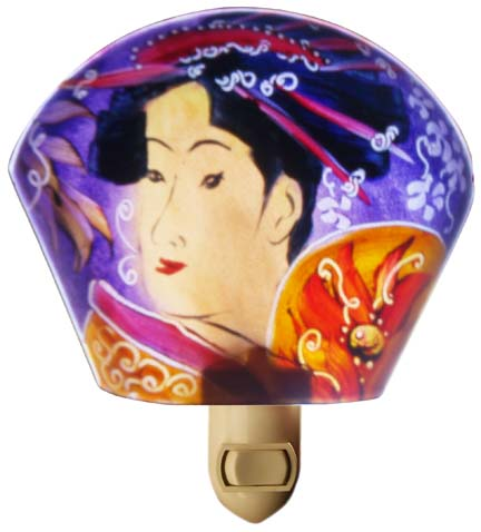 Purple Geshia Painted Night Light by Jenny Floravita