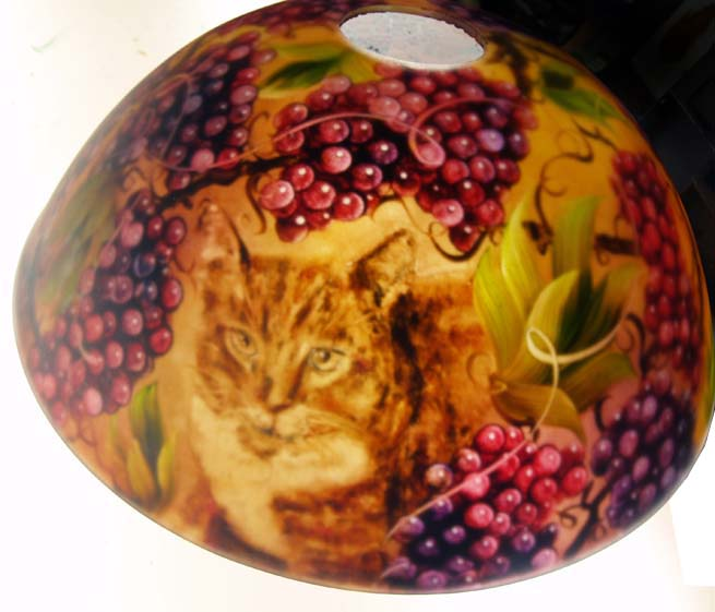 Cat Got The Grapes, commissioned reverse painted lamp shade by Jenny Floravita
