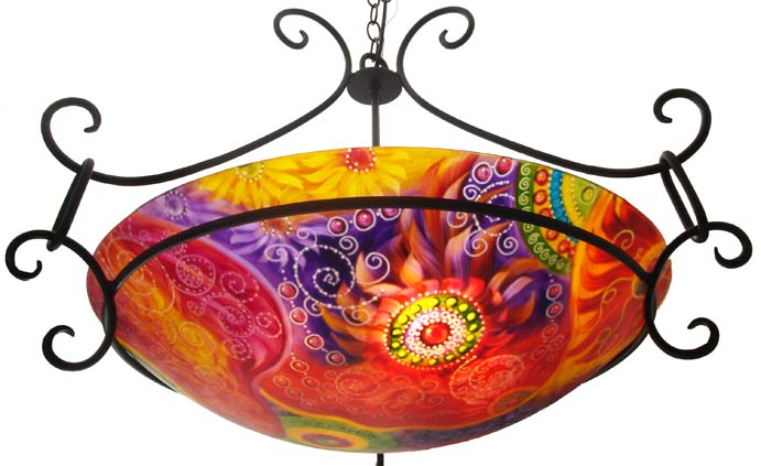 Circles of Joy, reverse hand painted chandelier by Jenny Floravita