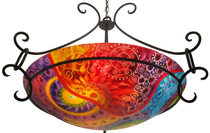 Circles of Summer, reverse hand painted glass chandelier by Jenny Floravita