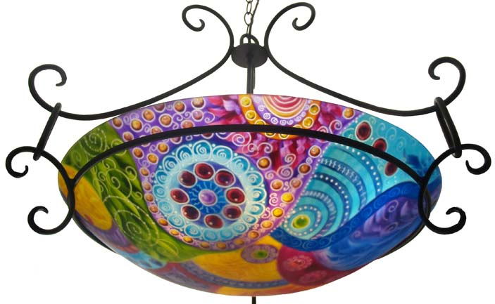 Evening Oasis, reverse painted glass chandelier by Jenny Floravita