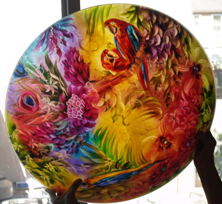 Commissioned Tropical Parrot reverse hand painted chandelier by Jenny Floravita