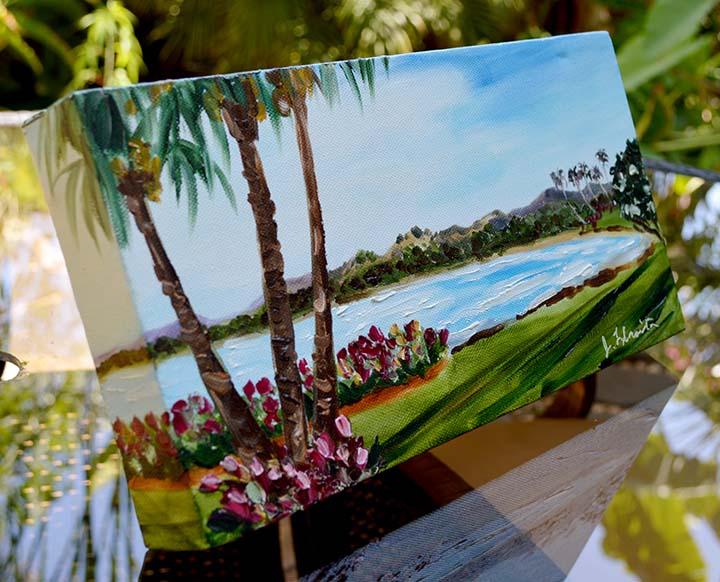 Mini Master Island Painting by artist Jenny Floravita. 12x6 inches on gallery wrapped canvas.
