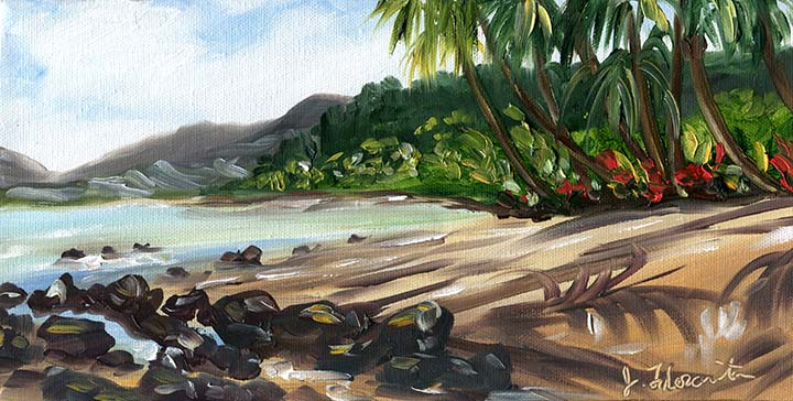 Jenny Floravita Tropical Hawaii Kauai Beach Painting 43 10
