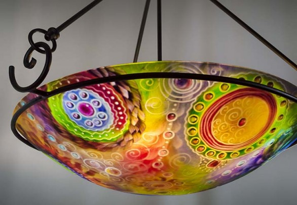 Medallions of the Earth is an exquisite abstract painted chandelier by artist Jenny Floravita.