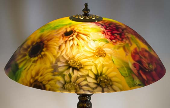 Romantic Floral is an exquisitely painted, 18 inch reverse painted glass lamp by artist Jenny Floravita