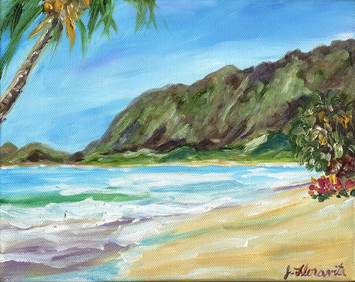 8x10 oil painting on gallery wrapped canvas, tropical Hawaiian oil beach painting by artist Jenny Floravita