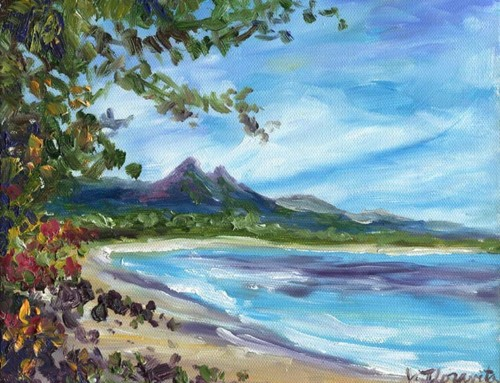 Oahu's Waimanalo Bay Beach, oil painting commission SOLD