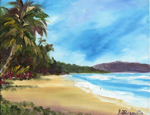 Hawaiian Beach Waimanalo Bay, commissioned oil painting SOLD