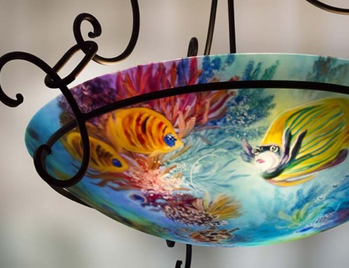 Ocean Reef Fish painted chandelier commission