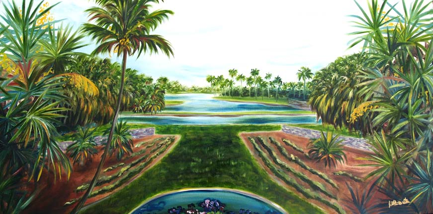 oil painting on gallery wrapped canvas 18x36 this is a prominent scene from the fairchild tropical botanical gardens - Fairchild Tropical Botanic Garden