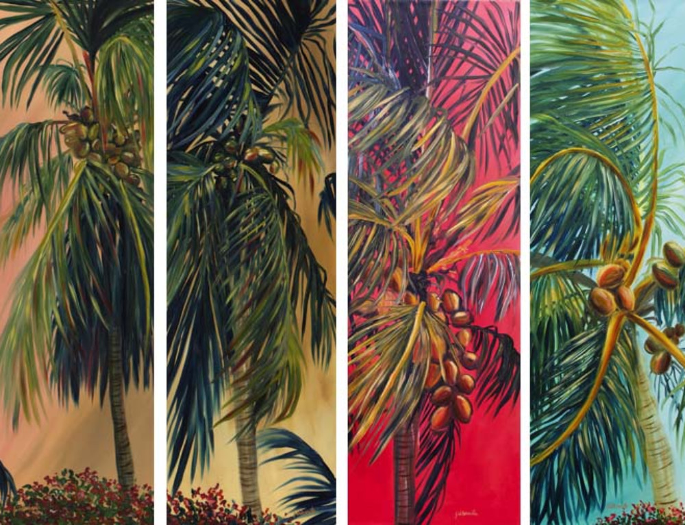 Tall Skinny Coconut Palm Paintings