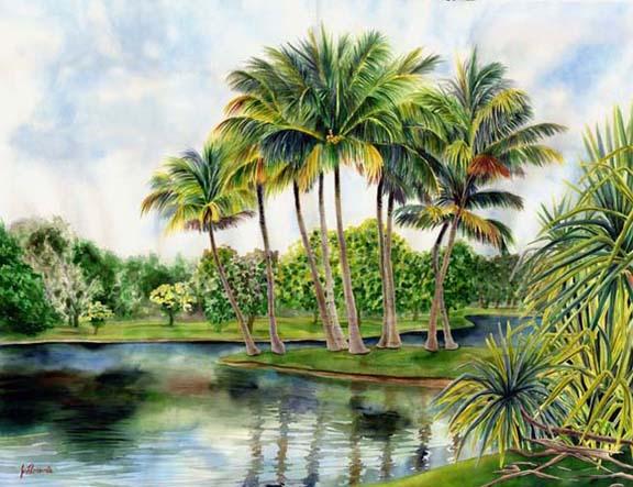 Fairchild Tropical Botanical Garden Watercolor By Jenny