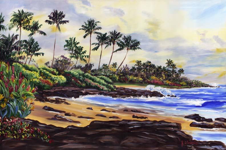 Kauai Beachside Bliss Floravita Reverse Painted Glass