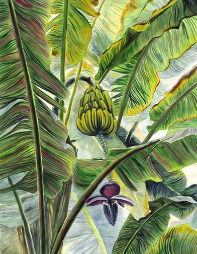 Jungle Banana Floravita Reverse Hand Painted Glass