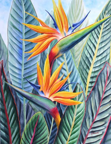 Birds Of Joy Tropical Bird Paradise Flower Painting