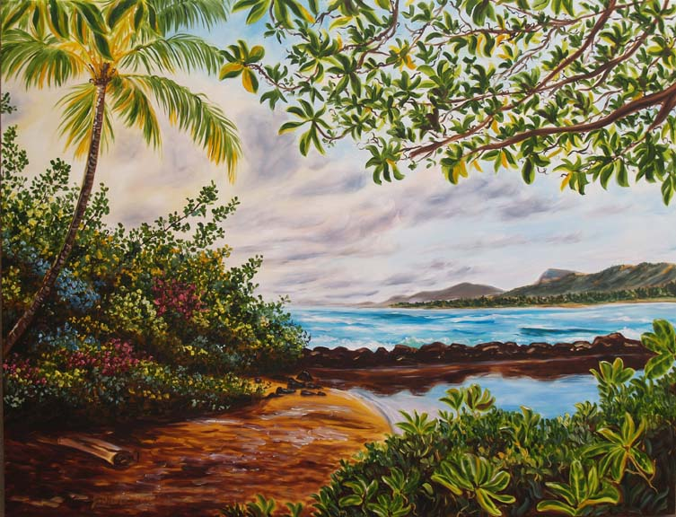large Kauai oil painting