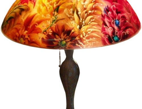 Ambience, Reverse Painted Glass Table Lamp Shade