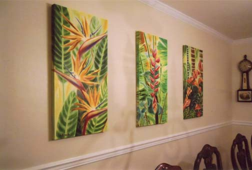 Tropical Flower oil paintings by artist Jenny Floravita
