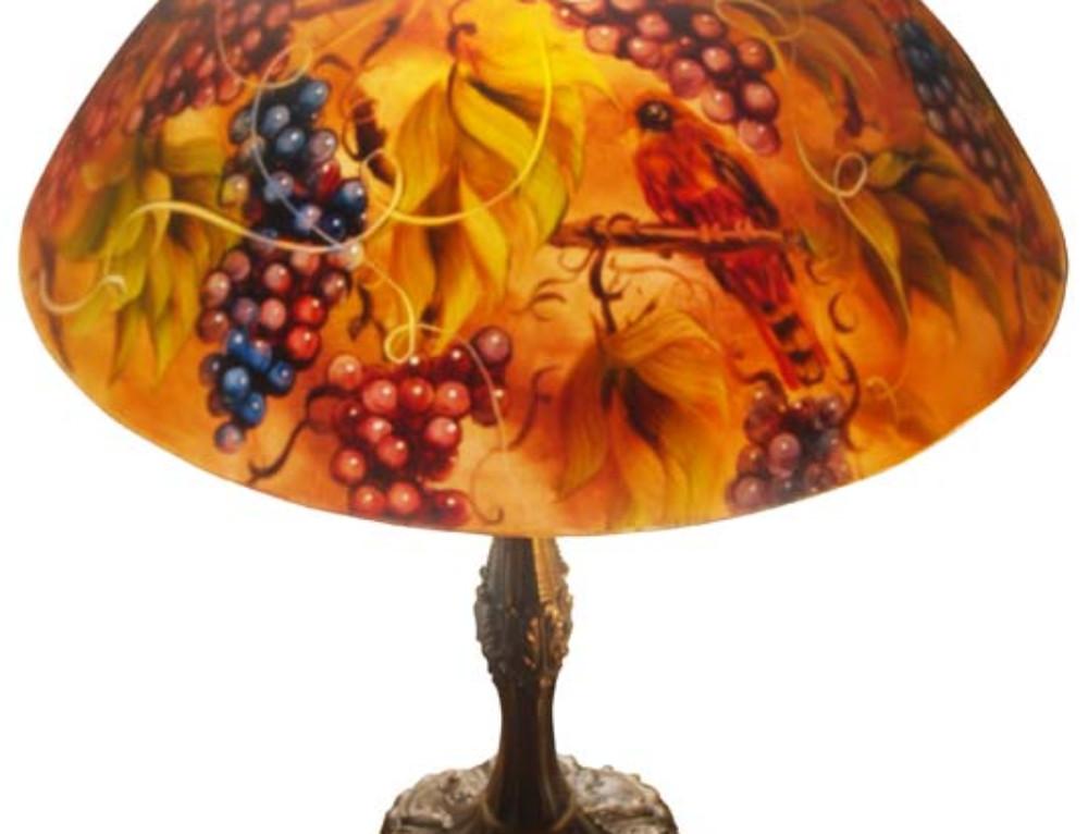 Vineyard Romance, 18″ Reverse Painted Lamp Shade