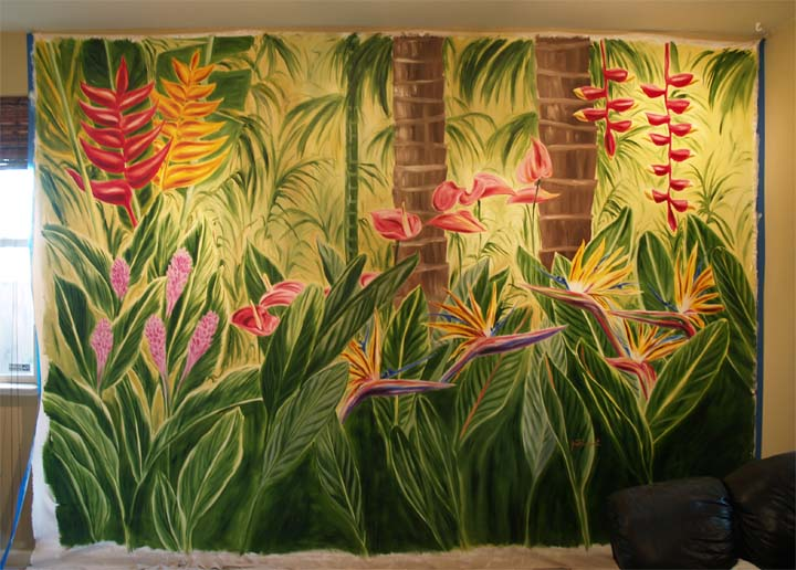 Tropical flower mural for 2011 dining by design finished for Mural glass painting