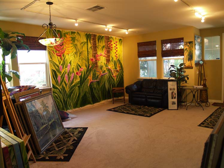 Tropical Flower Mural in my gallery room