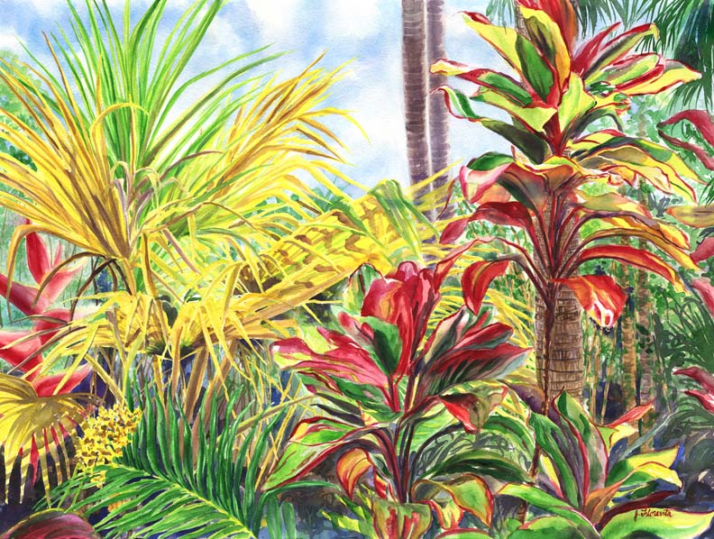 Glowing Ti Leaves of the Hawaiian Islands, watercolor painting by artist Jenny Floravita
