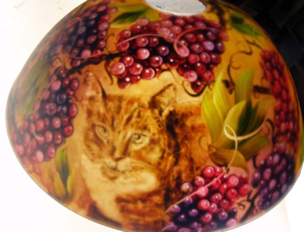 18″ Reverse hand painted lamp shade, cat commission