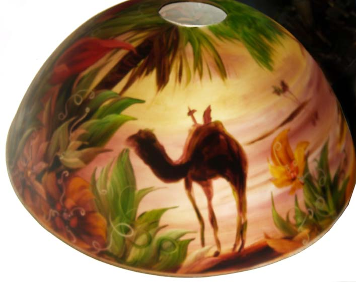 Desert Oasis Flora, reverse painted lamp shade by Jenny Floravita