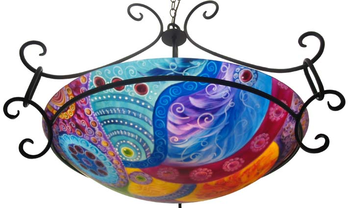Jenny Floravitas reverse hand painted chandelier call 9256257969 – Colored Chandelier
