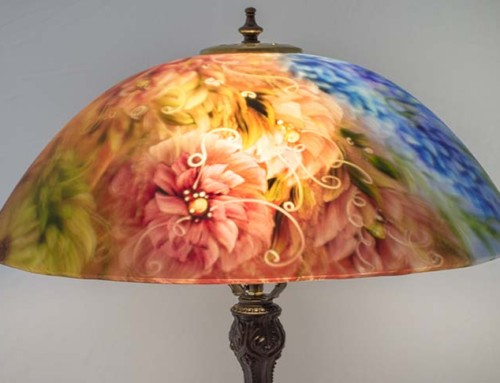 Summer Garden Bloom, 18″ reverse painted table lamp