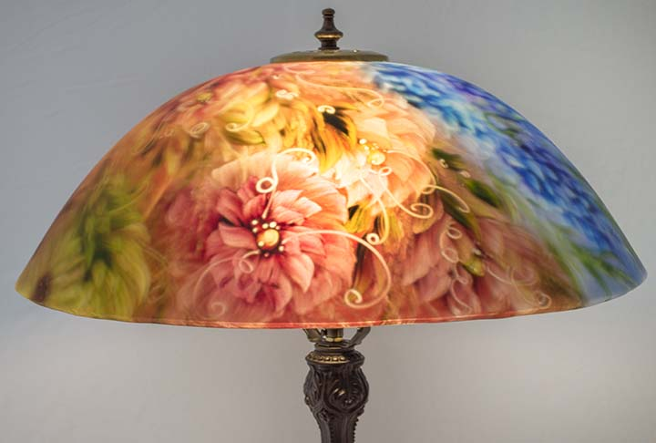 Painted lamps archives floravita reverse hand painted glass summer garden bloom 18 reverse painted table lamp aloadofball Images