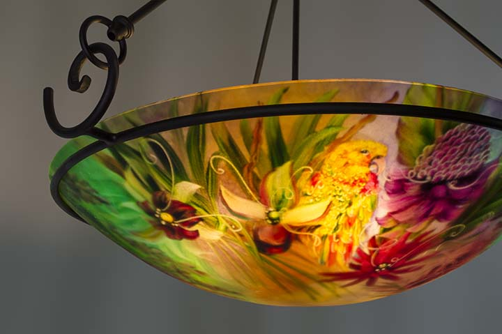Yellow Parrot and Tropical Flowers hand painted chandelier – Tropical Chandelier
