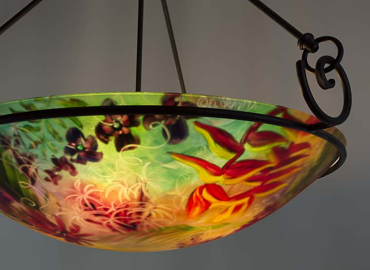 Tropical flowers and exotic birds inspire Floravitas hand painted – Tropical Chandelier
