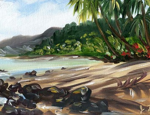 Just You and the Beach Kauai'i landscape oil painting by artist Jenny Floravita, SOLD
